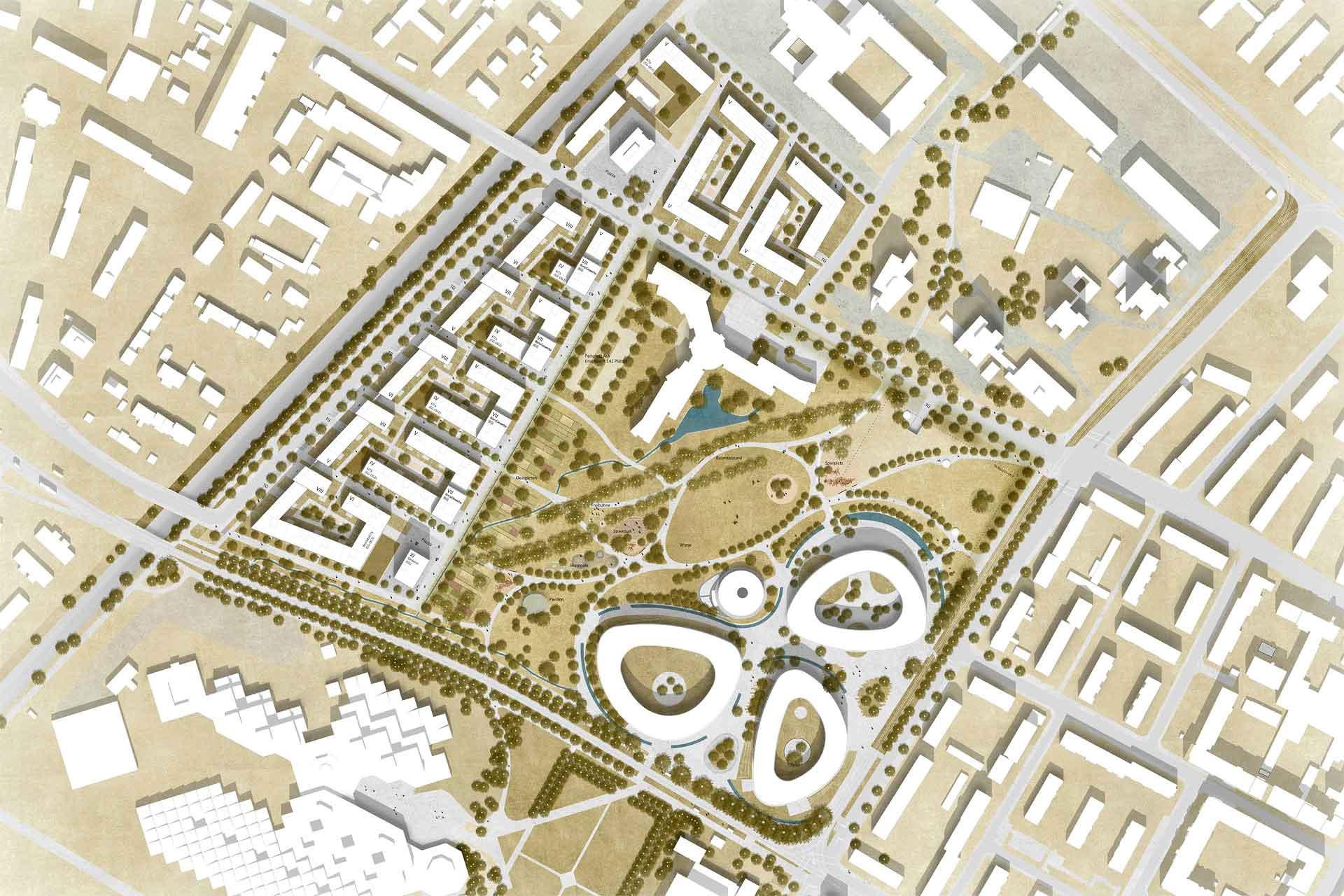 Vogelperspektive Städtbaulicher Entwurf Kleineschholz in Freiburg