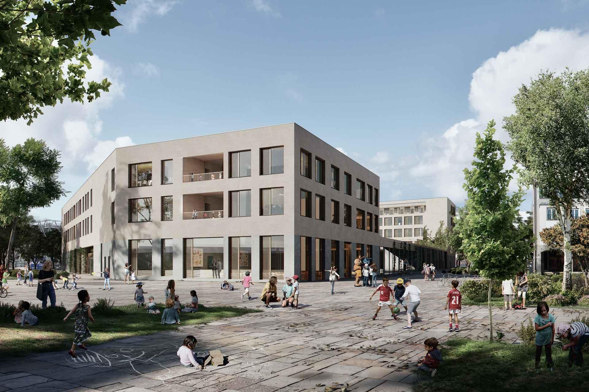 Bildungszentrum-Neckarpark-Stuttgart, Blockrand