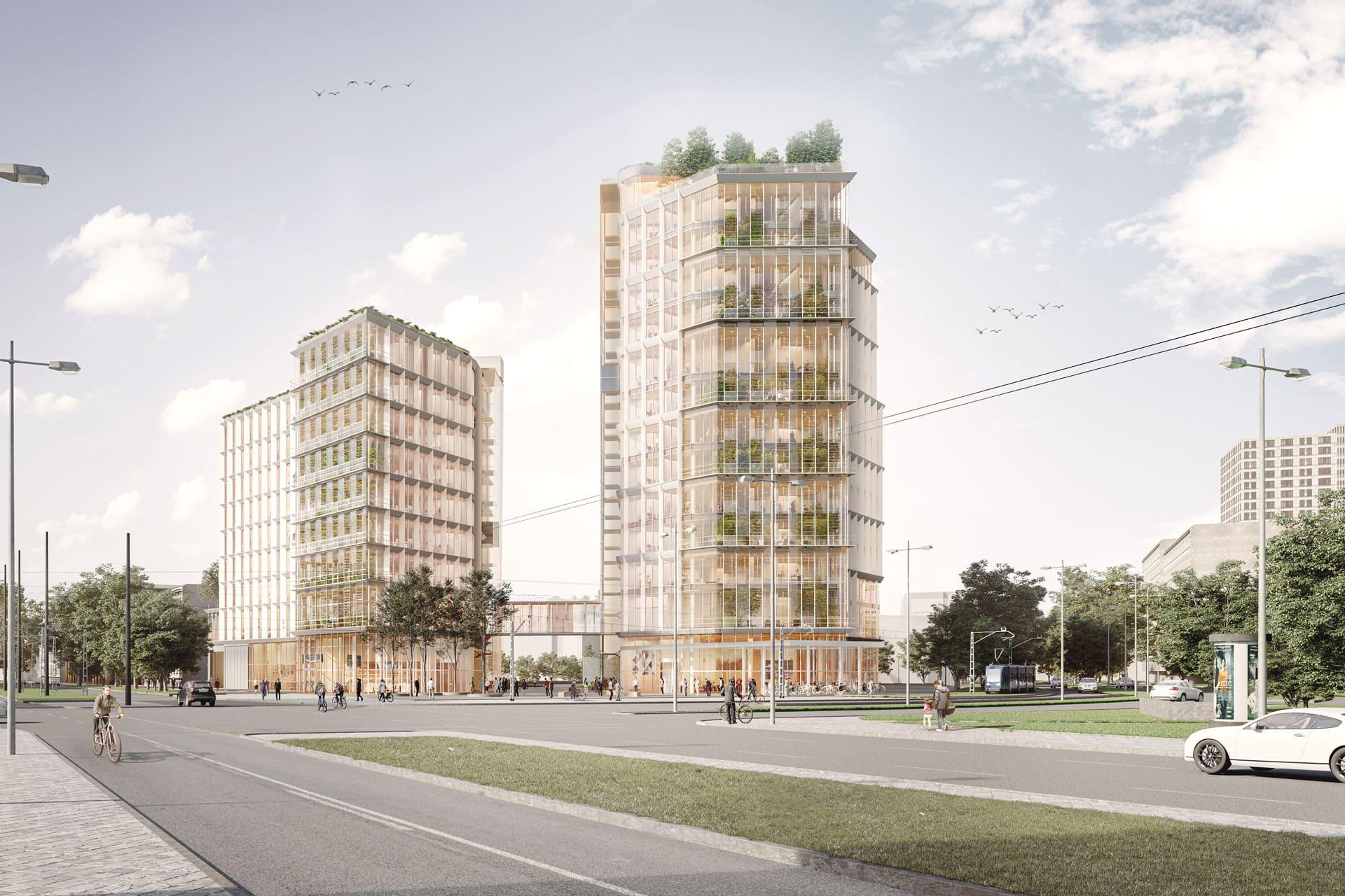 2 Hochhaeuser an der Zschokkestrasse, Ansicht, Aldinger Architekten