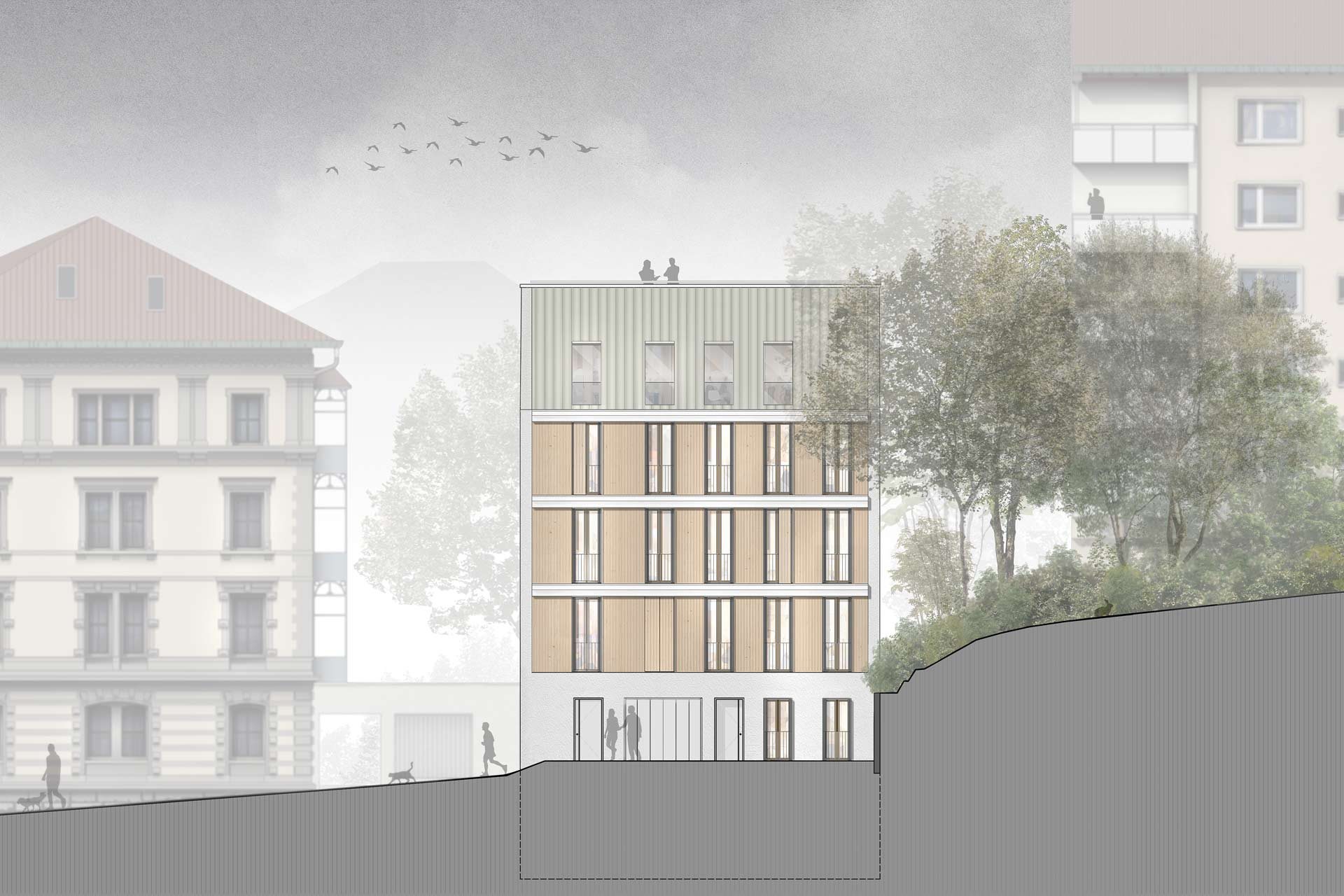 Holzhybridbau in der Schuetzenstrasse, Stuttgart - Ansicht - Aldinger Architekten